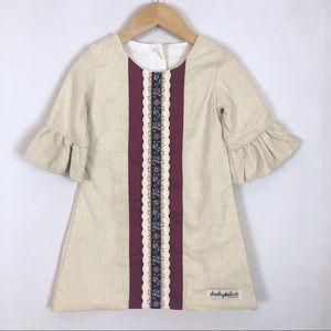 Cheeky Plum Linen Blend Fully Lined Dress Size 3T